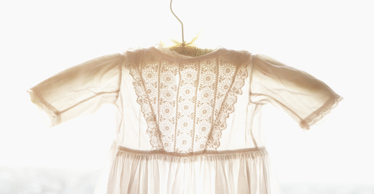 A beautiful child's dress worn at a christening ceremony