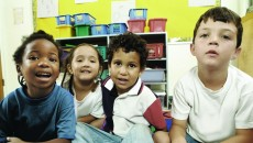 Preschool children of different races talking about diversity