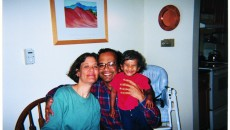 A family after adopting a baby from India