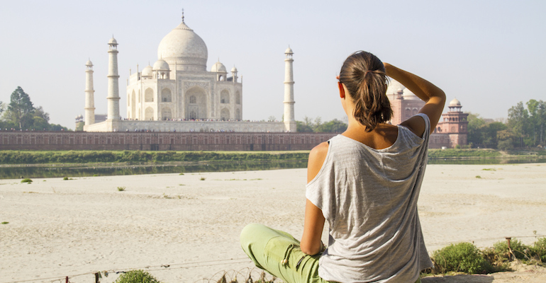 An adoptee visiting the Taj Mahal on her return to India