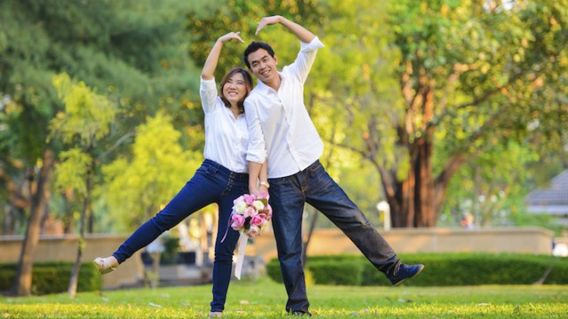 Korean couple preparing for an adoptive wedding