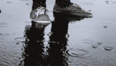 A pair of sneakers on a rainy day