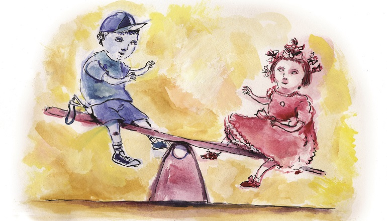 Two children awaiting adoption sit on a seesaw