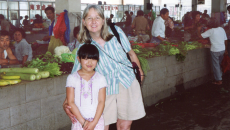 Melissa and Maya Ludtke at the Xiaxi market in 2004, the trip that inspired Touching Home in China