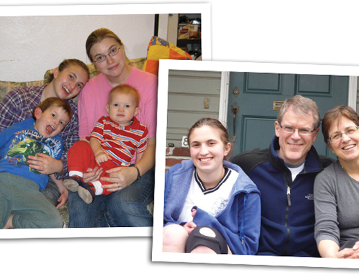 Adoptee as a teen with her birth mother and siblings (left) and her adoptive parents (right).