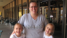 author Brandy Stein with her twin daughters during an open adoption visit
