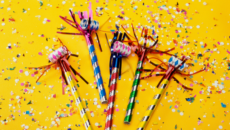 party blowers and confetti to celebrate at an adoption shower