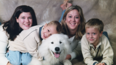 Christine Bauer, author of a memoir of her story as a birth mother, with her children