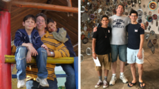 author Gary Matloff with his sons, after adoption and now, as teens
