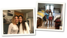 adoptive mother Kris Rose with her daughter at home and in her college dorm room